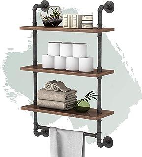 Industrial Pipe Shelves,Rustic Wall Mount Floating Shelf 3-Tiers 24 in Towel Racks for Bathroom, DIY Open Bookshelves,Meta...