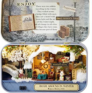 Box Theater Dollhouse, Mini Cabin Handicraft DIY Assemble Box House Kits Art Gifts Creative Room With String Light Tweezer Ruler For Kids Friends Birthday Valentine's Day (Winter Roam Around)