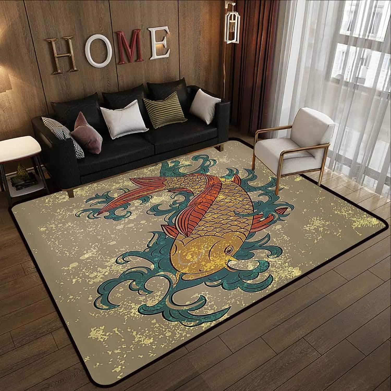 Carpet mat,Japanese Decor,Grunge Asian Style Oriental Cold Water Koi Carp Fish Aquatic Theme on Distressed Pattern,Multi 47 x 59  Floor Mat Entrance Doormat