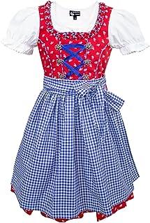 Country Maddox Maddox Kinder Dirndl Zillertal - Rot Blau - 3-TLG. Trachtenset für Mädchen Kleid Schürze Bluse