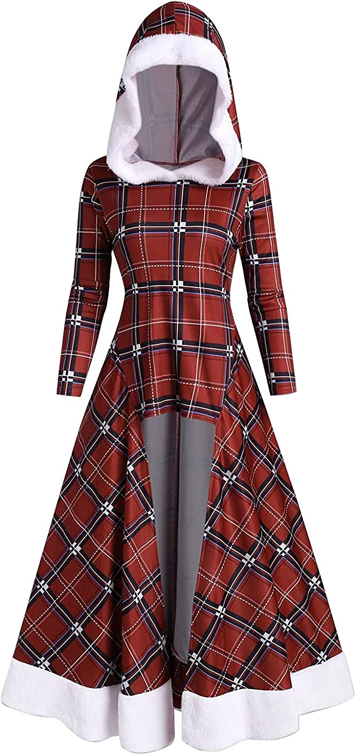 Cloak Dresses for Women Christmas Selling Max 63% OFF Sleeve Printing Plaid Long Hig