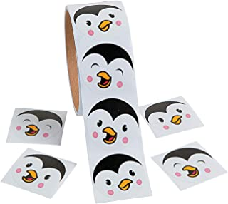 Fun Express - Penguin Face Roll Stickers for Winter - Stationery - Stickers - Stickers - Roll - Winter - 1 Piece