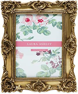 Laura Ashley 5x7 Gold Ornate Textured Hand-Crafted Resin Picture Frame with Easel & Hook for Tabletop & Wall Display, Decorative Floral Design Home Décor, Photo Gallery, Art, More (5x7, Gold)