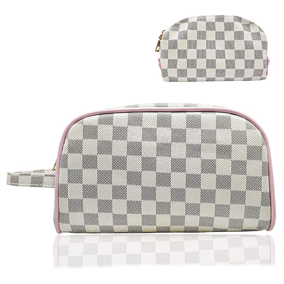 Astraet Luxury Checkered Make Up Bag PU Vegan Leather Waterproof Cosmetic toiletry Travel bag with inner wallet