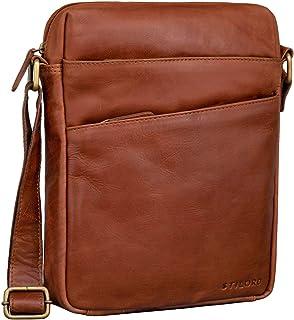 """STILORD Pia"""" Vintage Umhängetasche Damen Leder Handtasche zum Umhängen Schultertasche für Freizeit Shopping Abend Tablettasche 12.2 Zoll Echtleder, Farbe:Cognac - glänzend"""