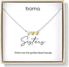 Boma Jewelry Sentiments Collection Sisters Sterling Silver Three Hearts with 14kt Rose and Yellow Gold Vermeil Necklace, 18 Inches