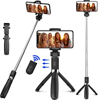 LETTURE Selfie Trípode Bluetooth, 360°Rotación Extensible Selfie Stick Inalámbrico Palo Selfie Trípode para Móvil Deportiv...