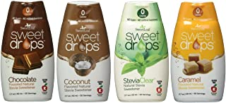 SweetLeaf Sweet Drops Flavored Stevia Sweetener 4 Flavor Variety Bundle, 1 Ea: Chocolate, Caramel, Coconut, Clear (4 Variety Coffee Bundle)