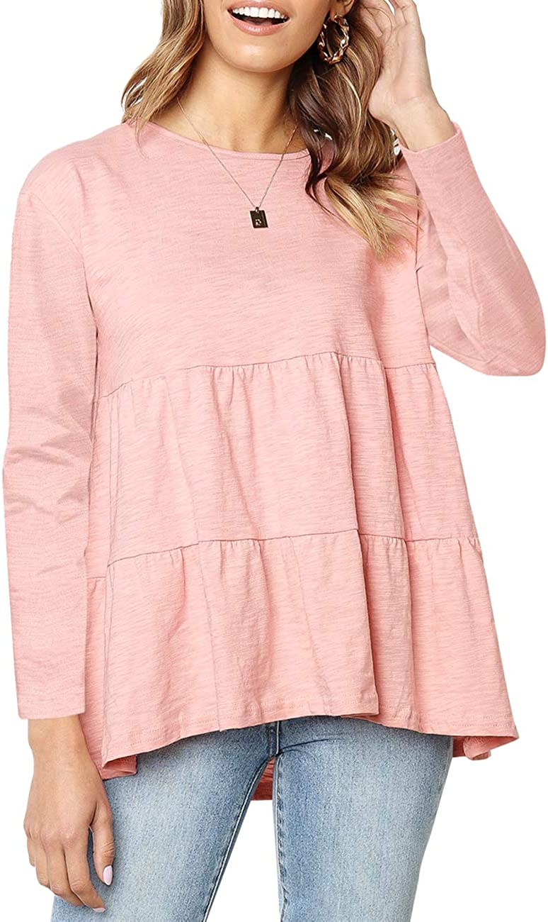 Kimiee Women's Long Sleeve Peplum Tops Loose Fit Round Neck Casual Tee Shirts