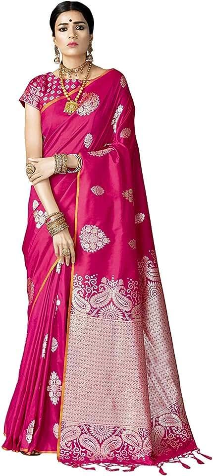 Indian VARKALA SILK SAREES Women's Banarasi Silk Saree With Unstitched Blouse Piece Saree