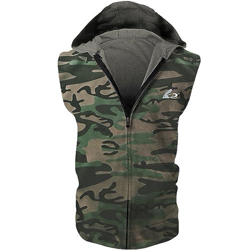 5925c6bfacb48 BigRabbit reg  PAIZH Men s Sleeveless Workout Hoodie Zip-up Vests Gym  Bodybuilding Lifting Tank Tops
