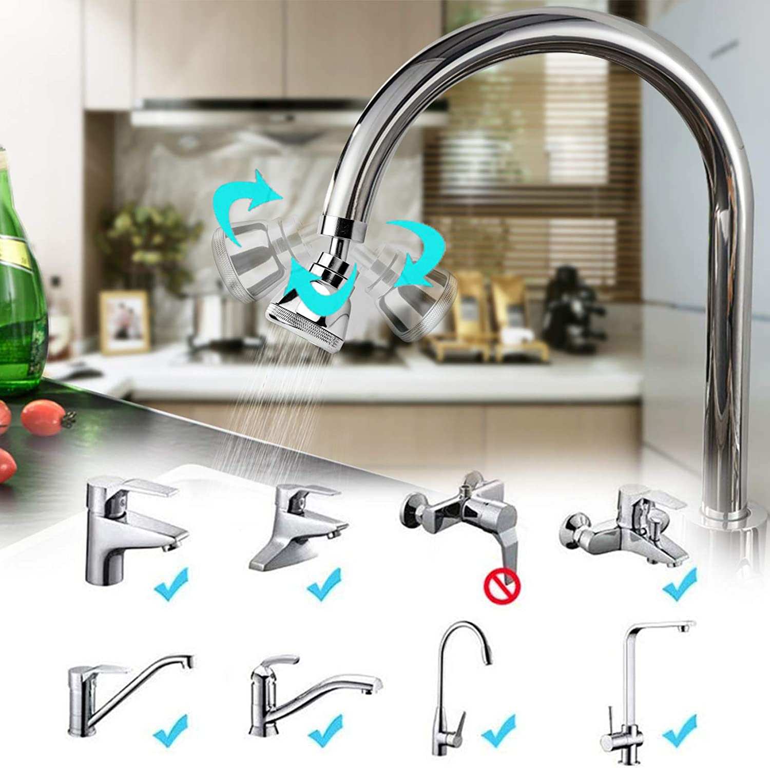 Buy 2021 Newest Swivel Kitchen Sink Faucet Aerator Big Angle Solid Copper High Pressure Kitchen Tap Head Large Flow Non Slip Faucet Sprayer Head Anti Splash Faucet Nozzle No Leaking 3 Modes Adjustable Online In