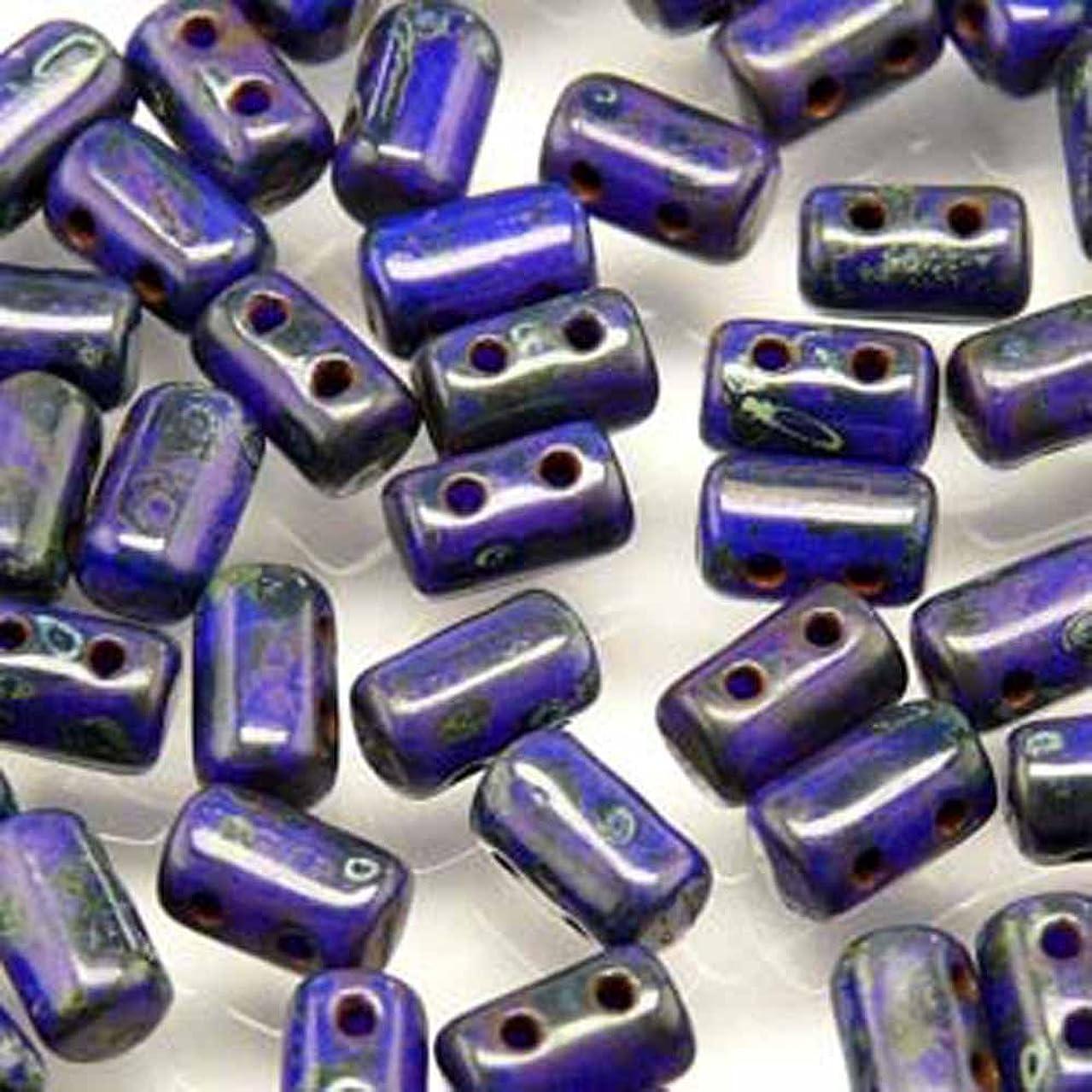 Czech Rulla Beads 22 Grams 3 x 5mm OPAQUE BLUE DARK TRAVERTIN