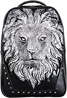 Daypacks Anlimal 3D Lion Head Backapck PU Laptop Shoulder Bag Large Backpack for Men (Color : Silver)