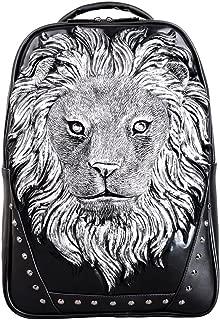 Daypacks Anlimal 3D Lion Head Backapck PU Laptop Shoulder Bag Large Backpack for Men (Color : Silver)