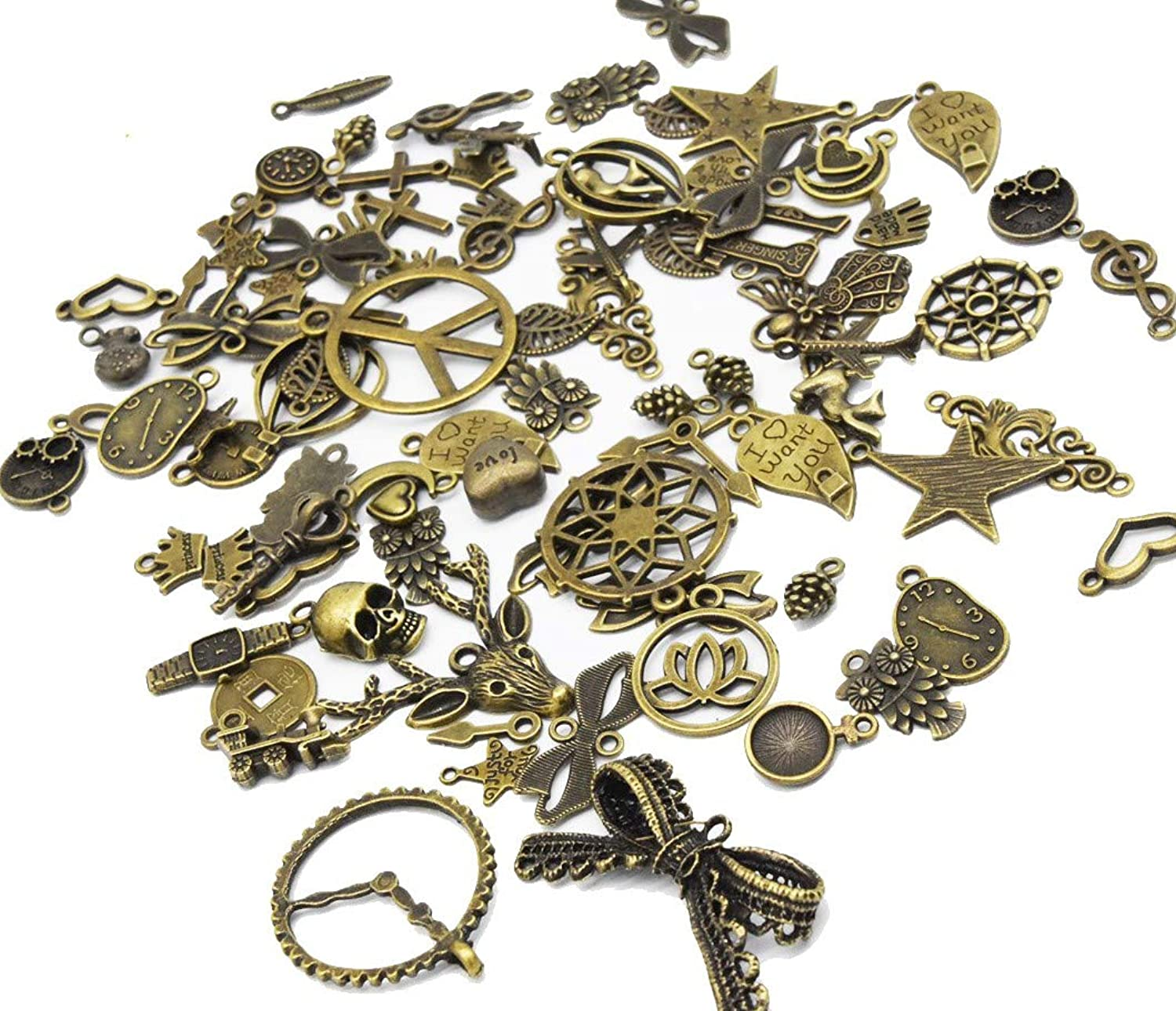 Youkwer 100 Gram(Approx 80pcs) Assorted DIY Antique Mixed Charms Pendants Punk Accessories for DIY Crafting and Jewelry Making Bronze