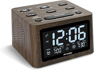 ساعت زنگ دار چوبی دوگانه و دستگاه سر و صدای سفید REACHER - میزان صدا قابل تنظیم ، 6 صدای بیدارباش ، 12 صدا آرام بخش برای خواب ، تایمر خاموش کردن خودکار ، شارژر USB ، پشتیبان گیری باتری ، 0-100٪ کم نور برای اتاق خواب