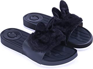 WMK Women's Slippers Indoor House or Outdoor Latest Fashion Black Cute furr Flipflop Slipper for Women