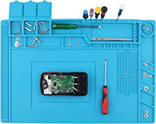 Spurtar Anti-Static Mat Soldering Station 500℃ Heat-resistant Magnetic Multi-Purpose DIY Repair Silicone Work Pad for Soldering Brazing Iron Phone Watch Computer - Blue 17.7 x 11.8 Inch