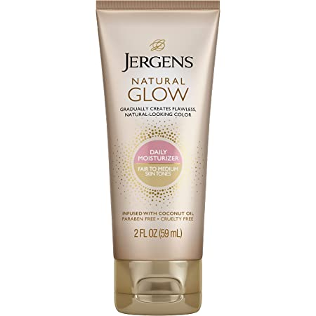 Jergens Natural Glow SPF 20 Face Moisturizer, Self Tanner, Fair to Medium Skin Tone, Sunless Tanning, Daily Facial Sunscreen, 2 oz, Oil Free, Broad Spectrum Protection UVA and UVB (Packaging May Vary)