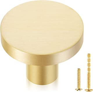 QogriSun 10-Pack Solid Brass Cabinet Knobs, 1-Inch Diameter, Round Gold Dresser Drawer Pulls Handles, Modern Copper Kitche...