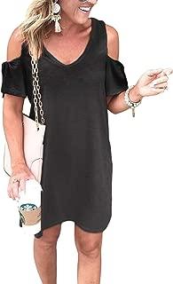 Women's V Neck Tie Sleeve Cold Shoulder Solid Loose Tunic Summer Dress