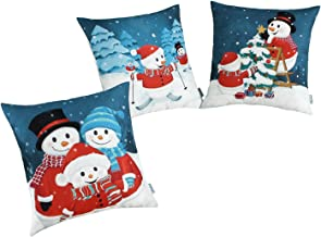 CaliTime Set of 3 Soft Canvas Pillow Covers Cases for Couch Sofa Home Decoration Christmas Holidays Print 18 X 18 Inches Cartoon Snowmans Family