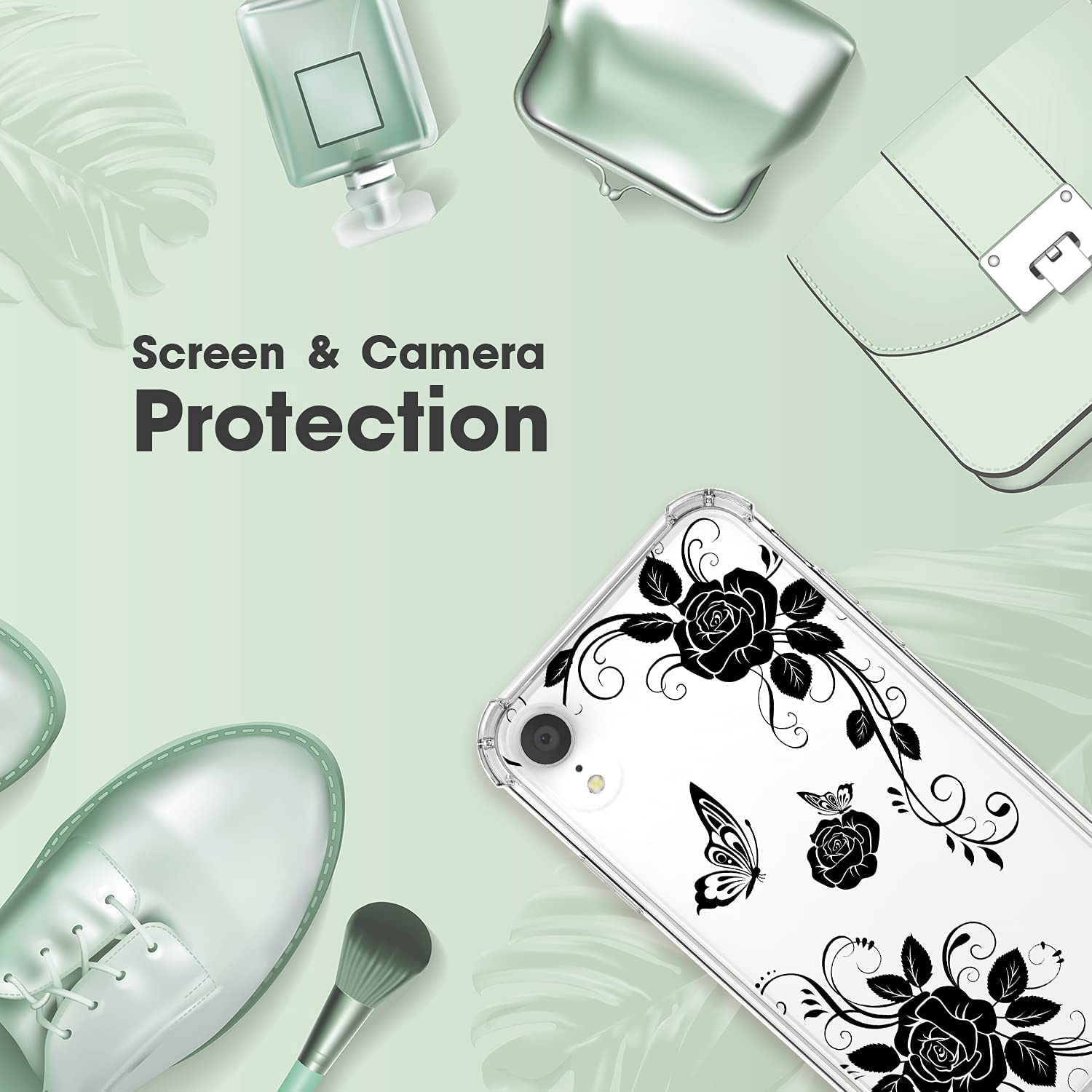 Cutebe Case for iPhone XR, Shockproof Series Hard PC+ TPU Bumper Protective Cover for Apple iPhone XR 6.1 Inch 2018 Release Black
