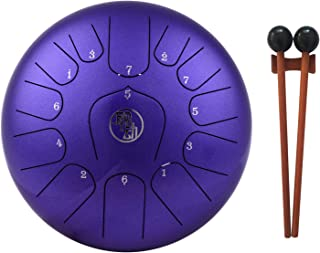 Leeofty 11 Inch Steel Tongue Drum 13-Notes C-Key Percussion Instrument with Mallets Drum Bag Wiping Cloth for Musical Educ...