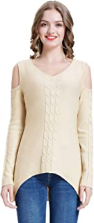 Jasambac Women's Cold Shoulder Cable Knit Sweater V Neck Pullover Jumper Top