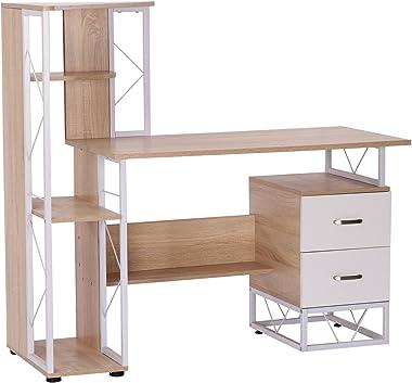 HOMCOM Scrivania PC di Design Moderno con Scaffale 133 x 55 x 123cm