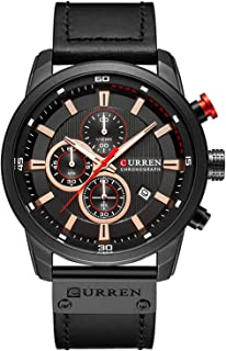 Men's Waterproof Sports Watch Chronograph Military Multifunction Watch Leather Band Analog Quartz Watch
