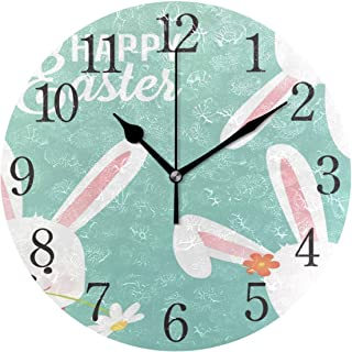 Wall Clock Happy Easter Vector Design with Cute Rabbit Characters- Advertising Poster Flyer Template Silent Non Ticking Operated Round Easy to Read Home Office School Clock