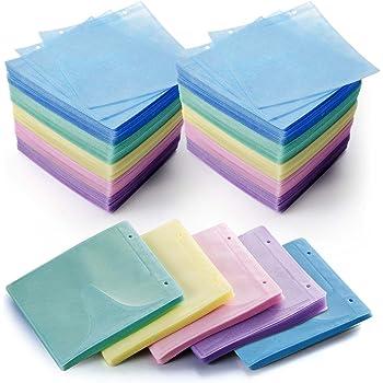 サンワダイレクト 不織布ケース CD・DVD用 500枚入り 両面収納 インデックスカード付 リング穴付き 5色ミックス 200-FCD007MX-5
