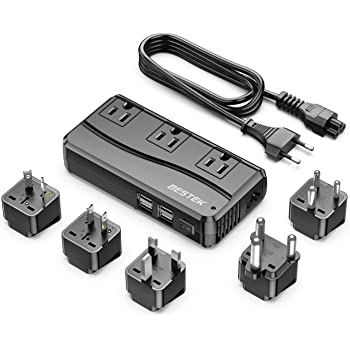 BESTEK 250W Power Converter 3-Outlet and 4-Port USB Travel Voltage Transformer 220V to 110V with Type G/D/M/AU/US Travel Plug Adapters