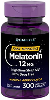 Carlyle Melatonin 12 mg Fast Dissolve 300 Tablets | Nighttime Sleep Aid | Natural Berry Flavor | Vegetarian, Non-GMO, Gluten Free