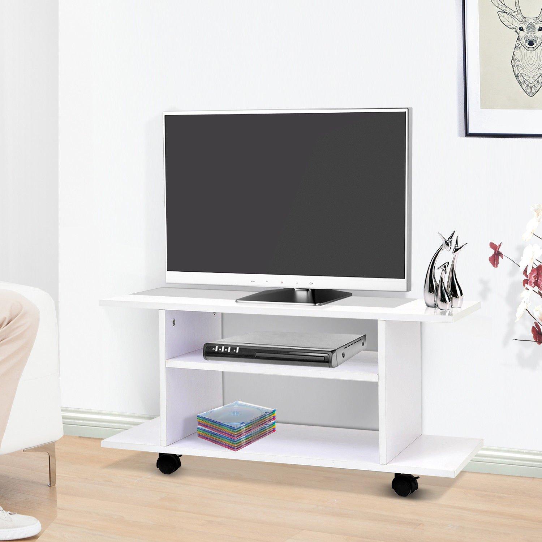 HOMCOM Mesa Armario móvil Mueble de TV Tele de Madera con Ruedas ...
