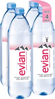evian Natural Spring Water 1.25 Liter, 42.27 Fl Oz 4Count, Naturally Filtered Spring Water in Bulk-Size Water Bottles