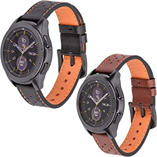 Galaxy Watch 42mm Bands 2 Pack, 20mm Watch Bands Genuine Leather, Compatible with Samsung Galaxy Watch Band 42mm, Screen Protector 2 Pack, Smart Watch Straps (Black + Brown)