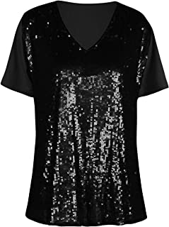 Women's Sequin Shirt Tops V Neck Glitter Holiday Party Blouse Evening Tops