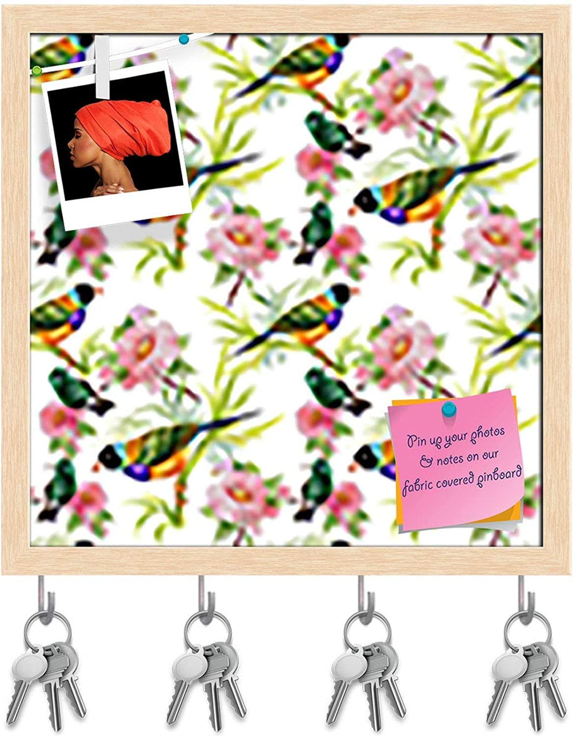 Artzfolio Tropical Beauty Key Holder Hooks   Notice Pin Board   Natural Brown Frame 20 X 20Inch