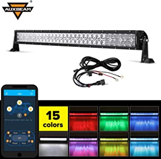 """Auxbeam 32"""" Multi-color LED Light Bar V Series 180W 5D RGB Off road LED Bar Spot Flood Combo Beam with Bluetooth App & Wiring Harness"""