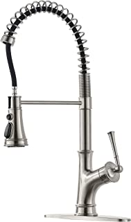 APPASO Commercial Spring Kitchen Faucet with Pull Down Sprayer Stainless Steel Brushed Nickel, Single Handle One Hole High Arc Kitchen Sink Faucet with Deck Plate