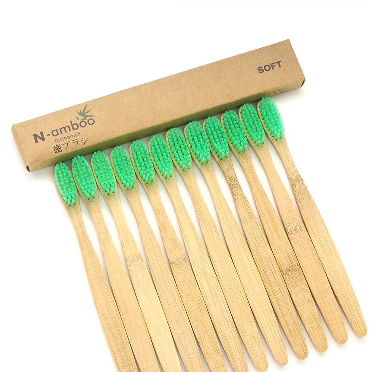 暗記するなぜならバスN-amboo 竹製 歯ブラシ 高耐久性 セット エコ 軽量 12本入り 緑 セット