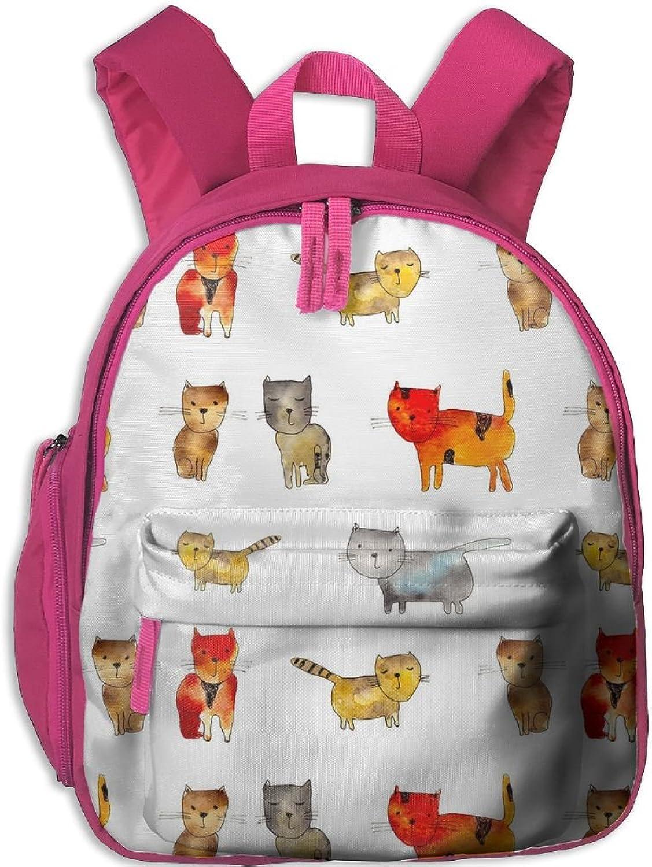 Lightweight Travel School Backpack Watercolor Cats(2070) For Girls Teens Kids
