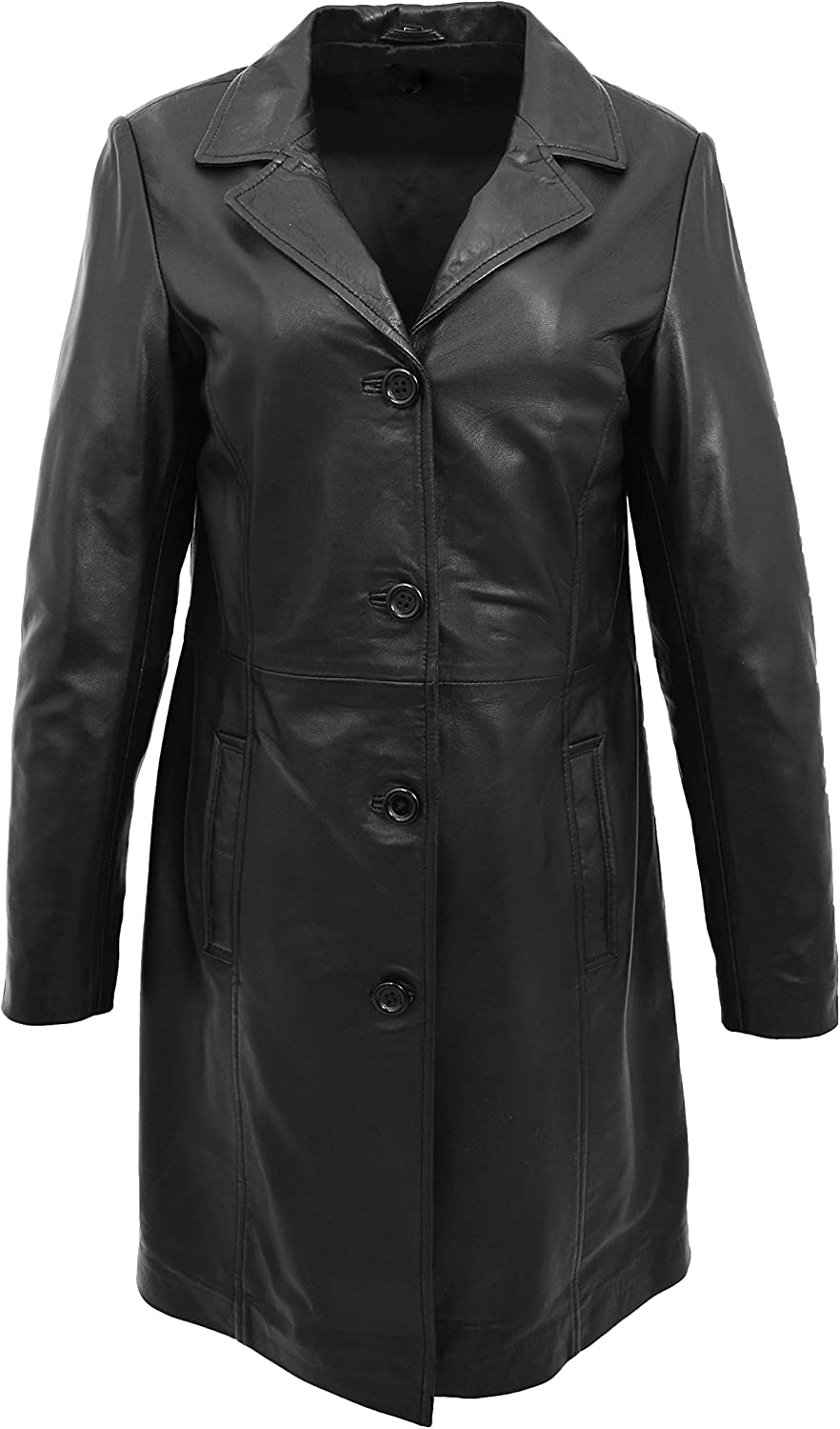 A1 FASHION GOODS Ladies 3 4 Long Classic Fitted Soft Black Real Leather Jacket Knee Length Button Coat Laura