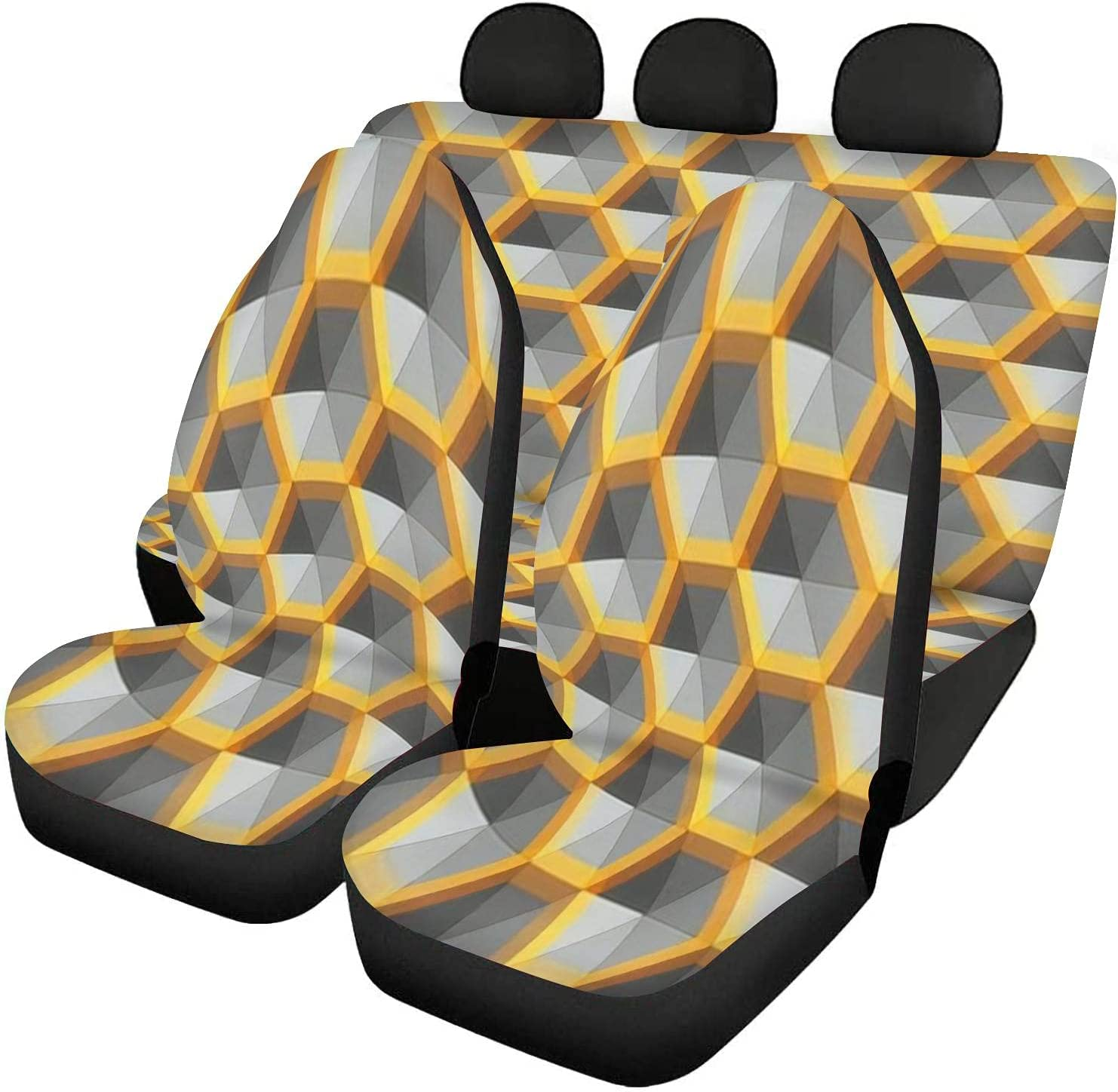 GDSJEGQM Car free Seat Covers Virginia Beach Mall Full Set Silver - Hexagon Abst and Gold