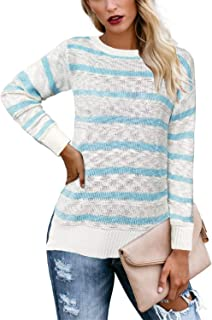 ADREAMLY Women's Long Sleeve Crew Neck Casual Loose Striped Knit Pullover Sweater Tops