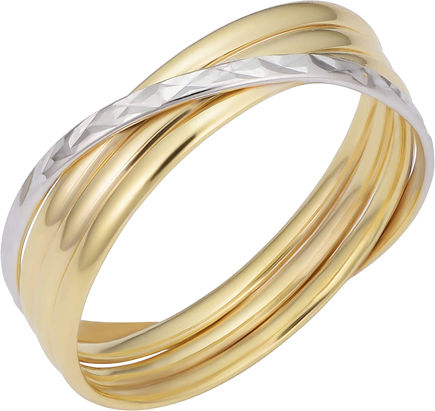 10k Two-tone Yellow and White Gold Polish Diamond-cut Crossing Stacked Band Ring (6 mm)