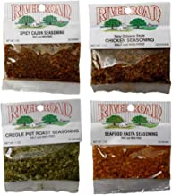 River Road by Fiesta Salt and MSG Free Cajun Seasoning Favorites 4 Flavor Assortment Bundle, 1 each: Spicy Cajun, New Orleans Style Chicken, Creole Pot Roast, Seafood Pasta (1 Ounce)